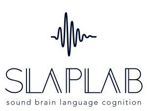 "Logo for the SLaP Lab; a waveform with SLAPLAB printed underneath, followed by the words ""sound, brain, language, cognition."""